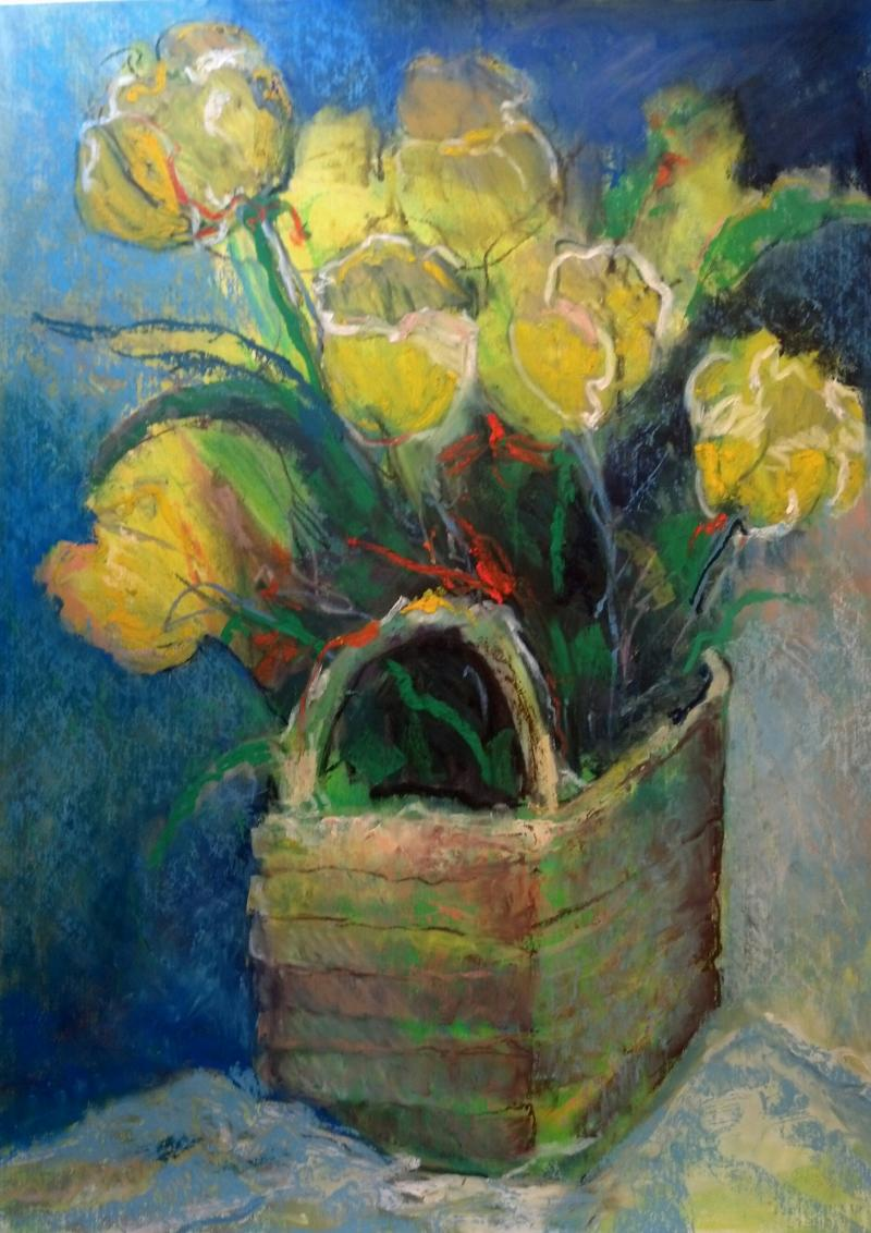 Large Floral, An Explosion of Color, Yellow Tulips