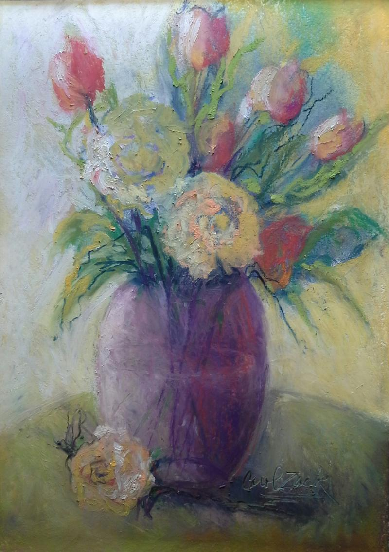 Small Floral in Lavendar,  Oil Pastel Paintnig
